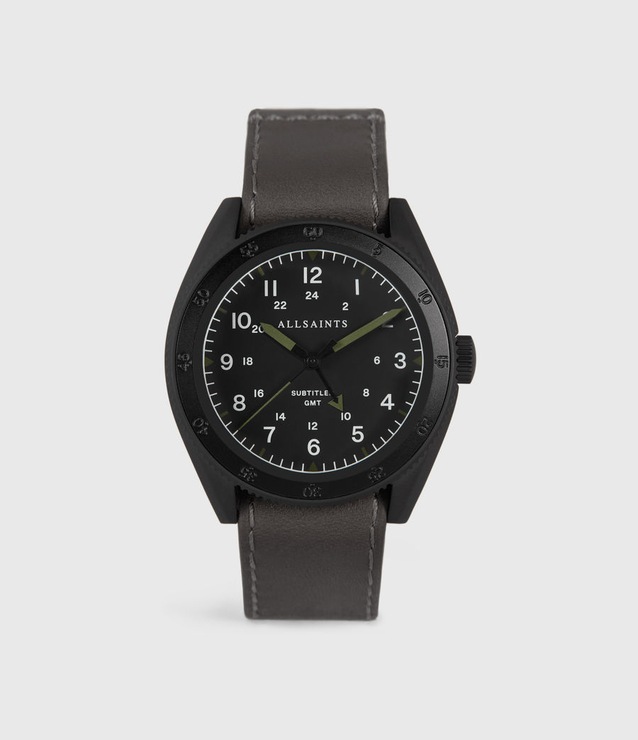 Mens Subtitled GMT IV Matte Black Stainless Steel and Slate Leather Watch (grey) - Image 1