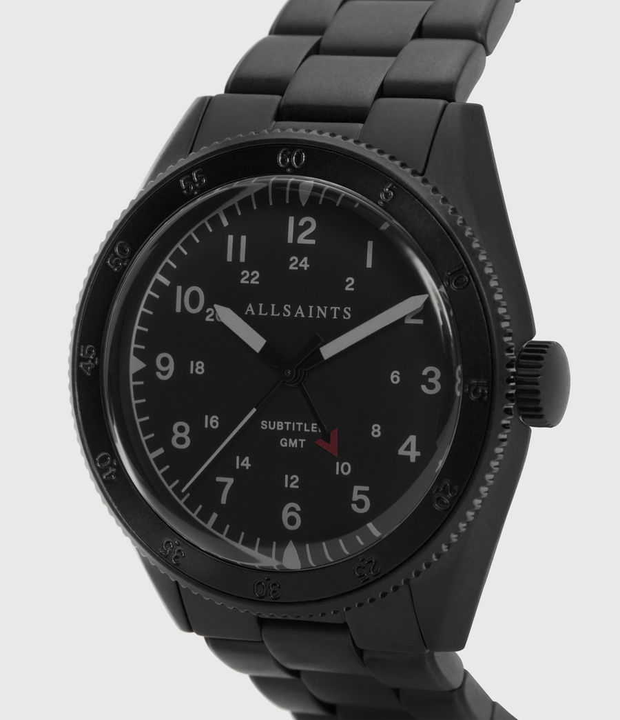 Men's Subtitled GMT V Matte Black Stainless steel Watch (black) - Image 2