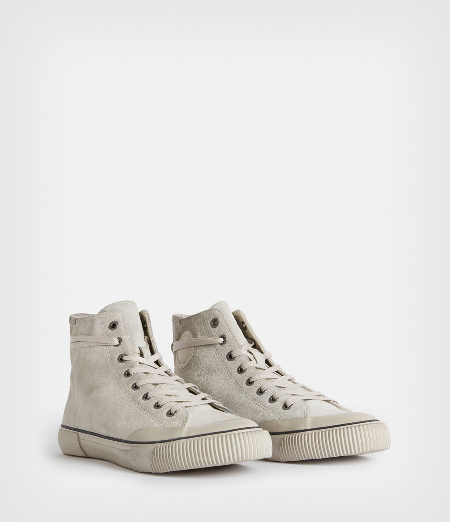 Mens Dumont High Top Suede Sneakers (chalk_white) - Image 3