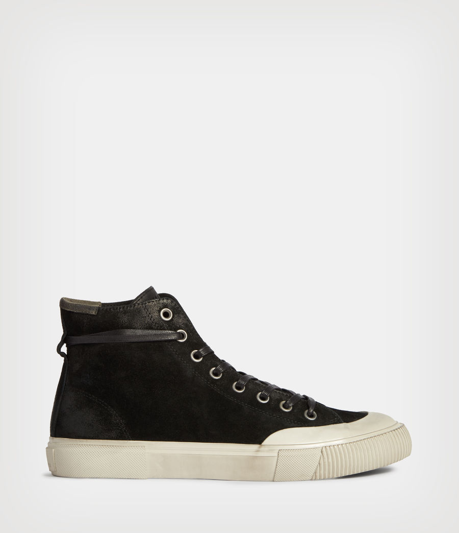 Hombres Dumont High Top Suede Trainers (black) - Image 1