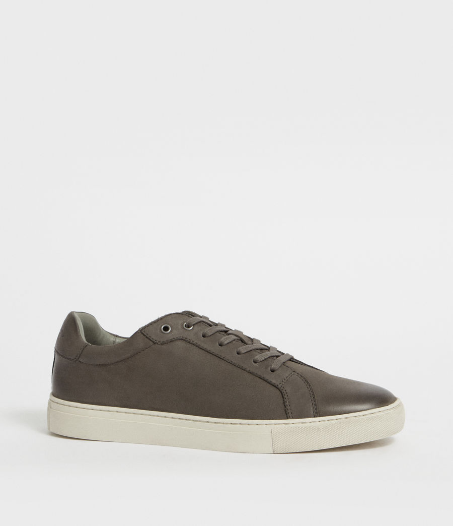 Men's Stow Low Top Leather Trainers (charcoal_grey) - Image 3