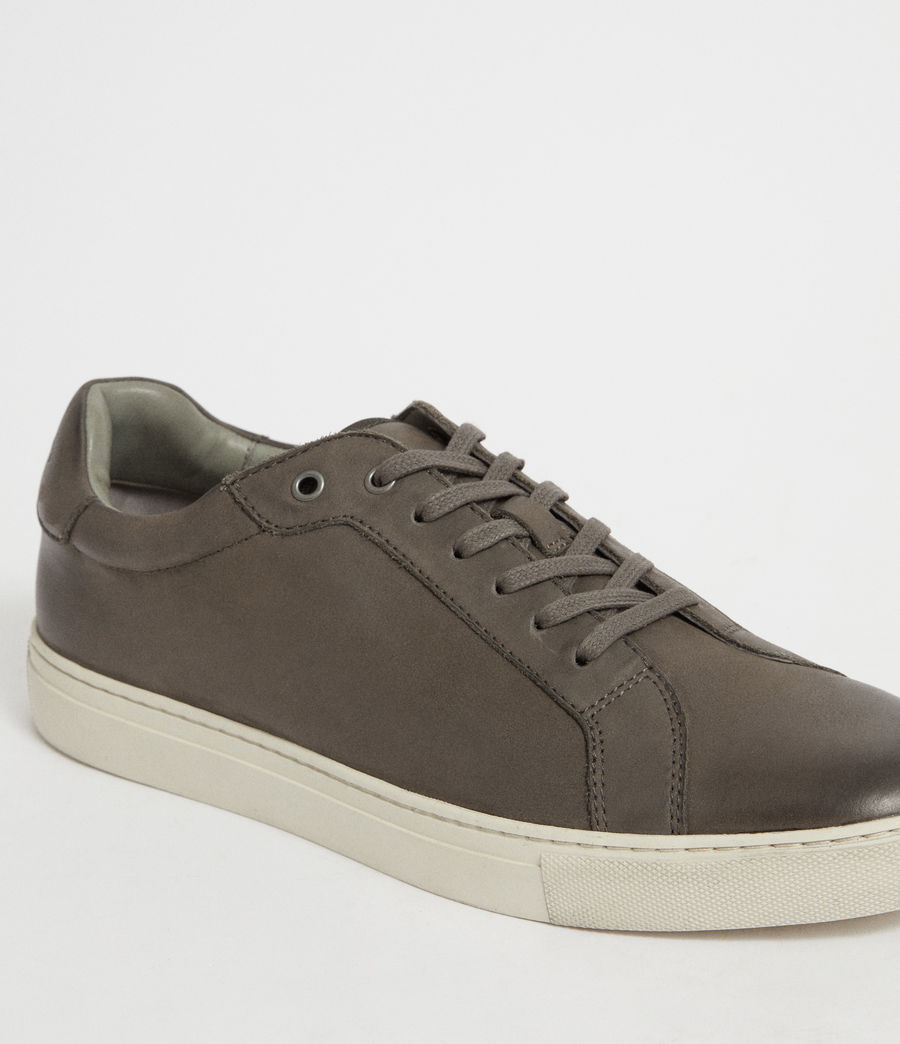 Men's Stow Low Top Leather Trainers (charcoal_grey) - Image 6