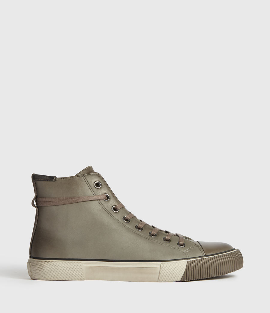 Mens Osun High Top Leather Sneakers (charcoal_grey) - Image 1