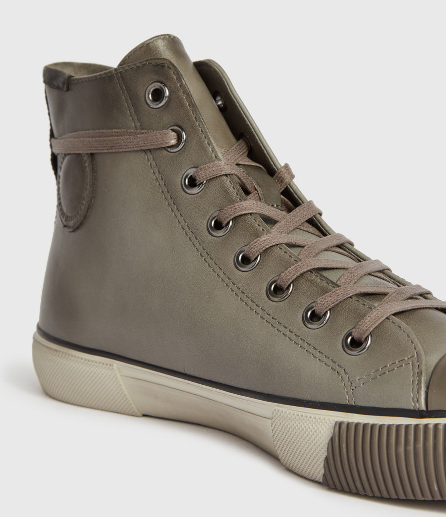 Mens Osun High Top Leather Sneakers (charcoal_grey) - Image 4