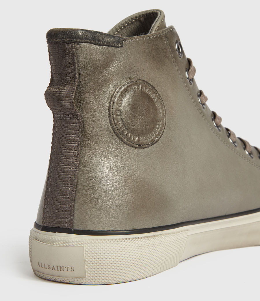 Mens Osun High Top Leather Sneakers (charcoal_grey) - Image 5