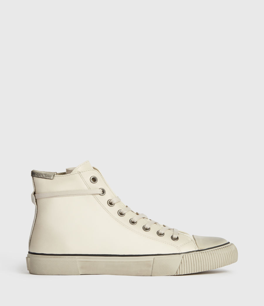 Mens Osun High Top Leather Sneakers (chalk_white) - Image 1