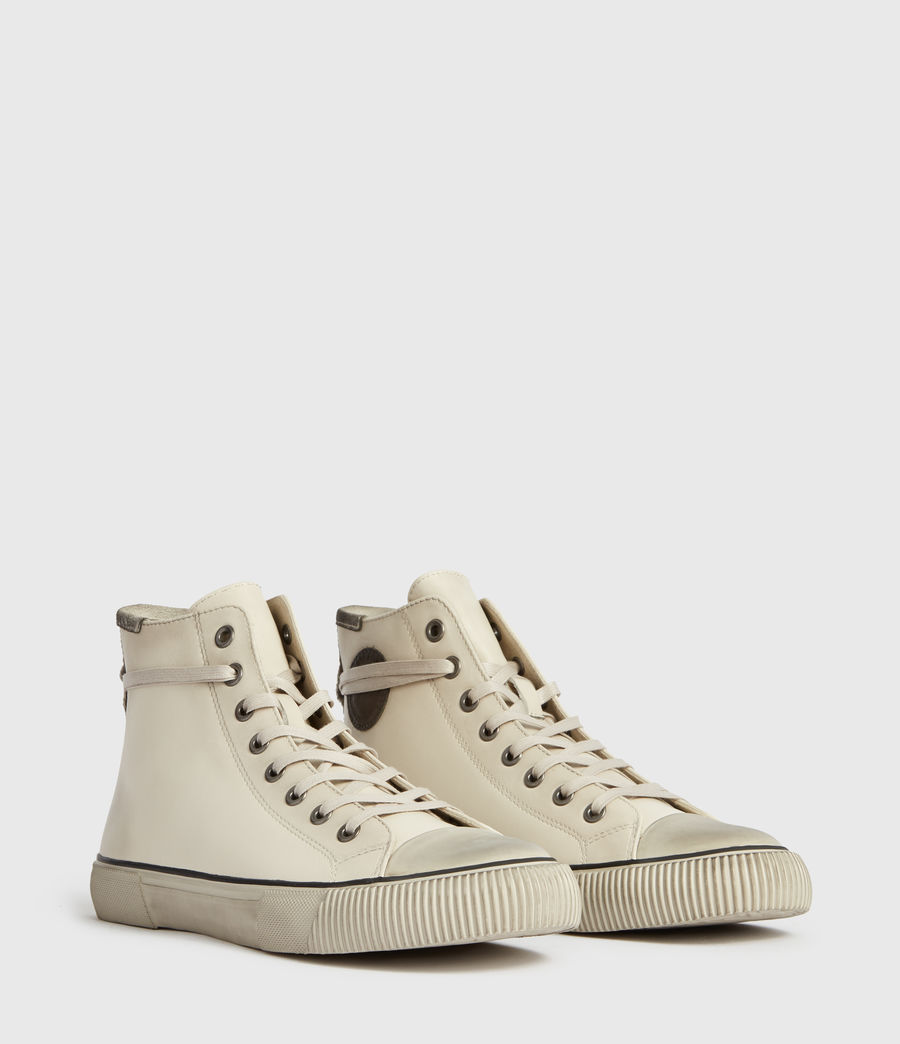 Mens Osun High Top Leather Sneakers (chalk_white) - Image 3