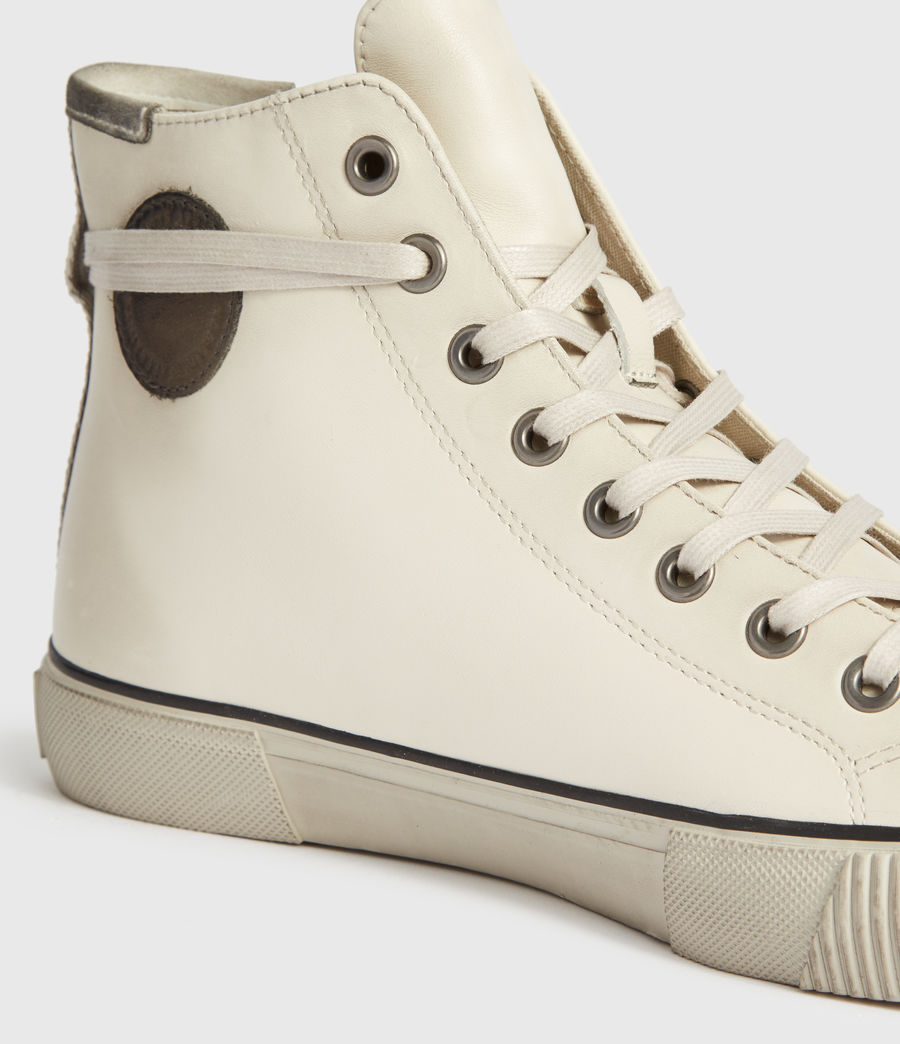Mens Osun High Top Leather Sneakers (chalk_white) - Image 4