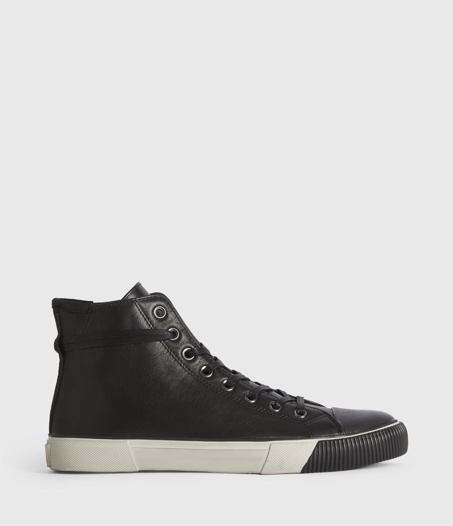 Men's Osun High Top Leather Trainers (black) - Image 1
