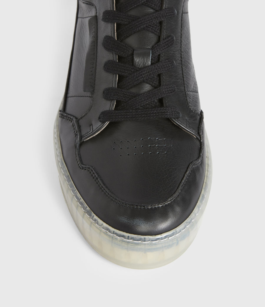Men's Alton Low Top Leather Trainers (black) - Image 2