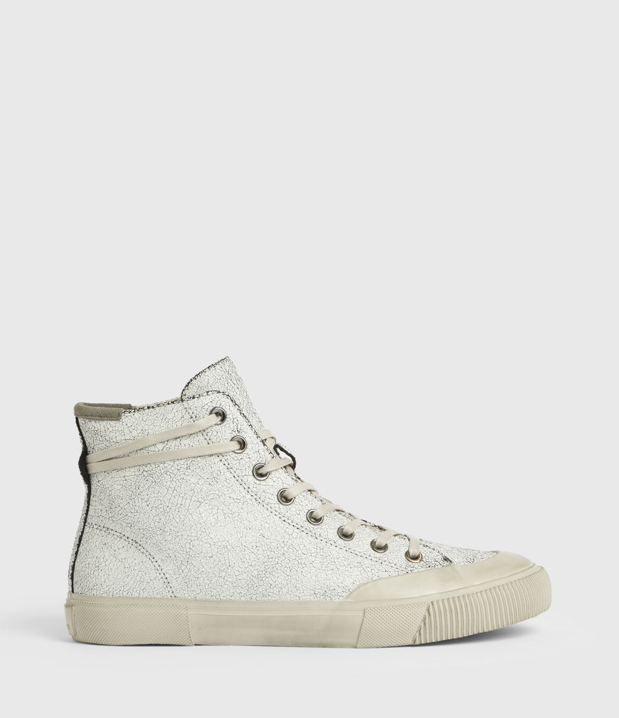 Men's Dumont Crackle High Top Leather Sneakers (chalk_white) - Image 1