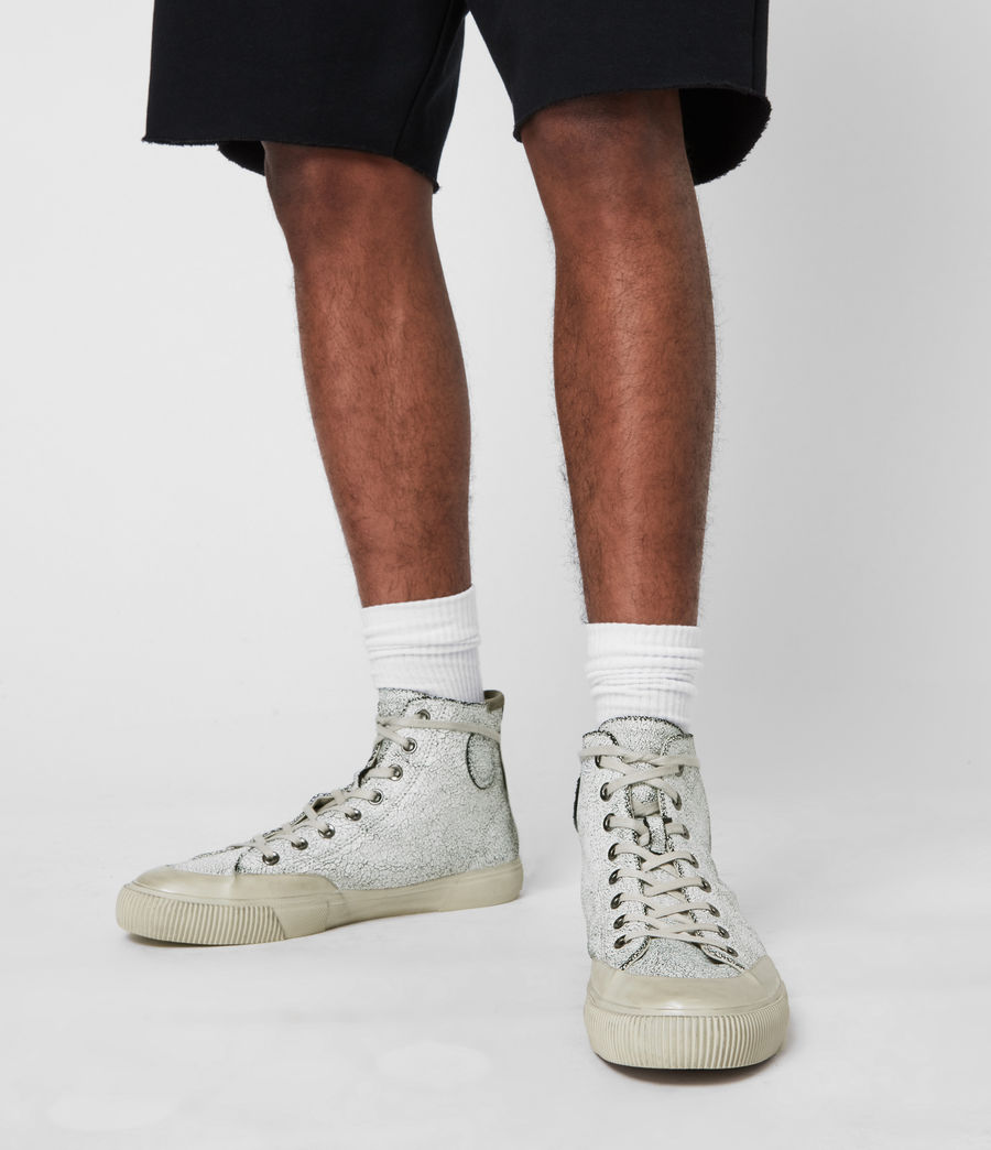 Men's Dumont Crackle High Top Leather Sneakers (chalk_white) - Image 2