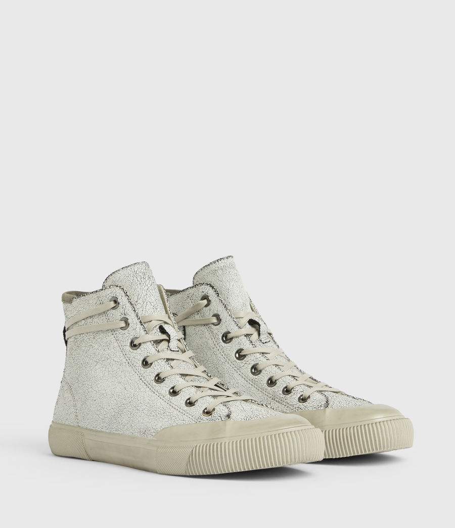 Men's Dumont Crackle High Top Leather Sneakers (chalk_white) - Image 4