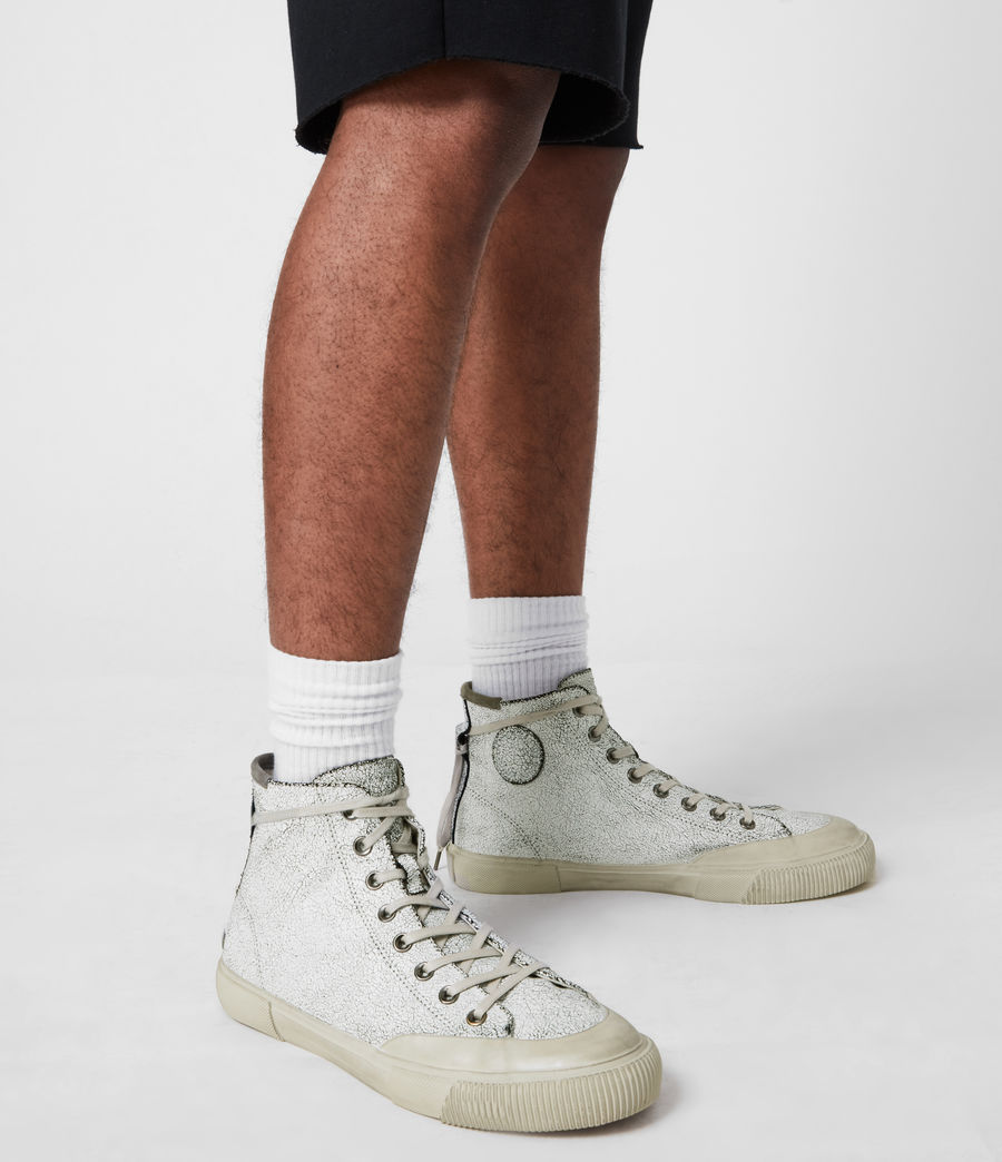 Men's Dumont Crackle High Top Leather Sneakers (chalk_white) - Image 7