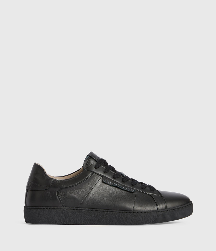 Men's Sheer Low Top Leather Trainers (black) - Image 1