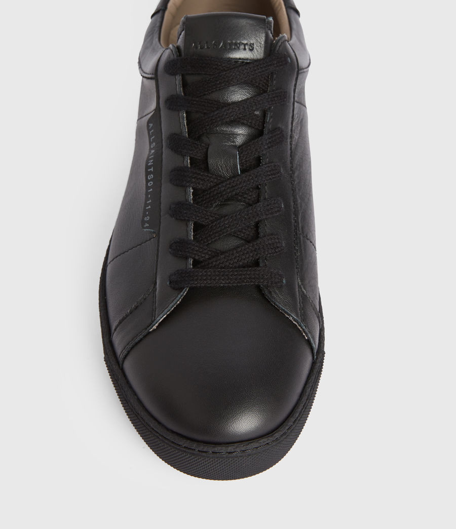 Men's Sheer Low Top Leather Trainers (black) - Image 2