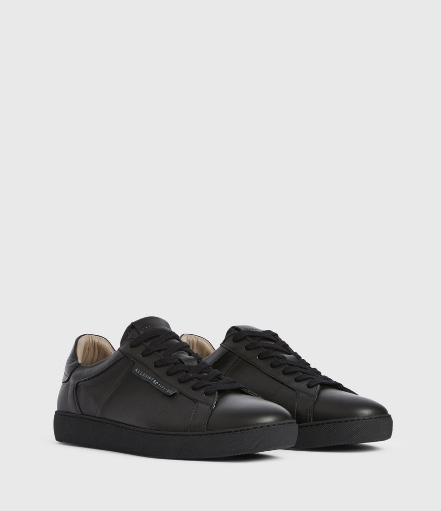 Men's Sheer Low Top Leather Trainers (black) - Image 3