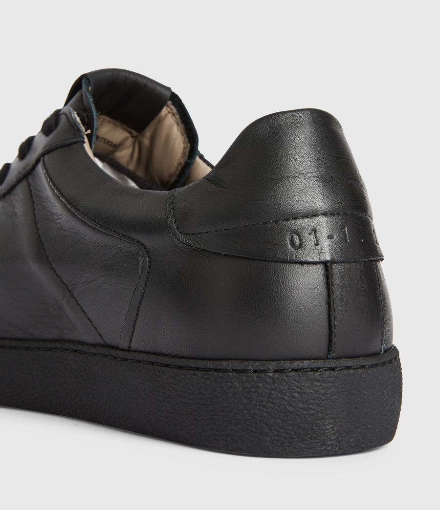 Men's Sheer Low Top Leather Trainers (black) - Image 4