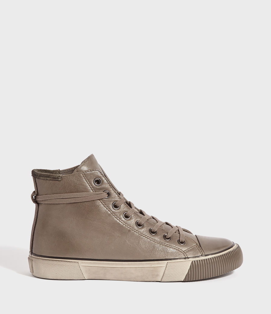Mens Osun Leather Hightop Sneaker (charcoal_grey) - Image 1