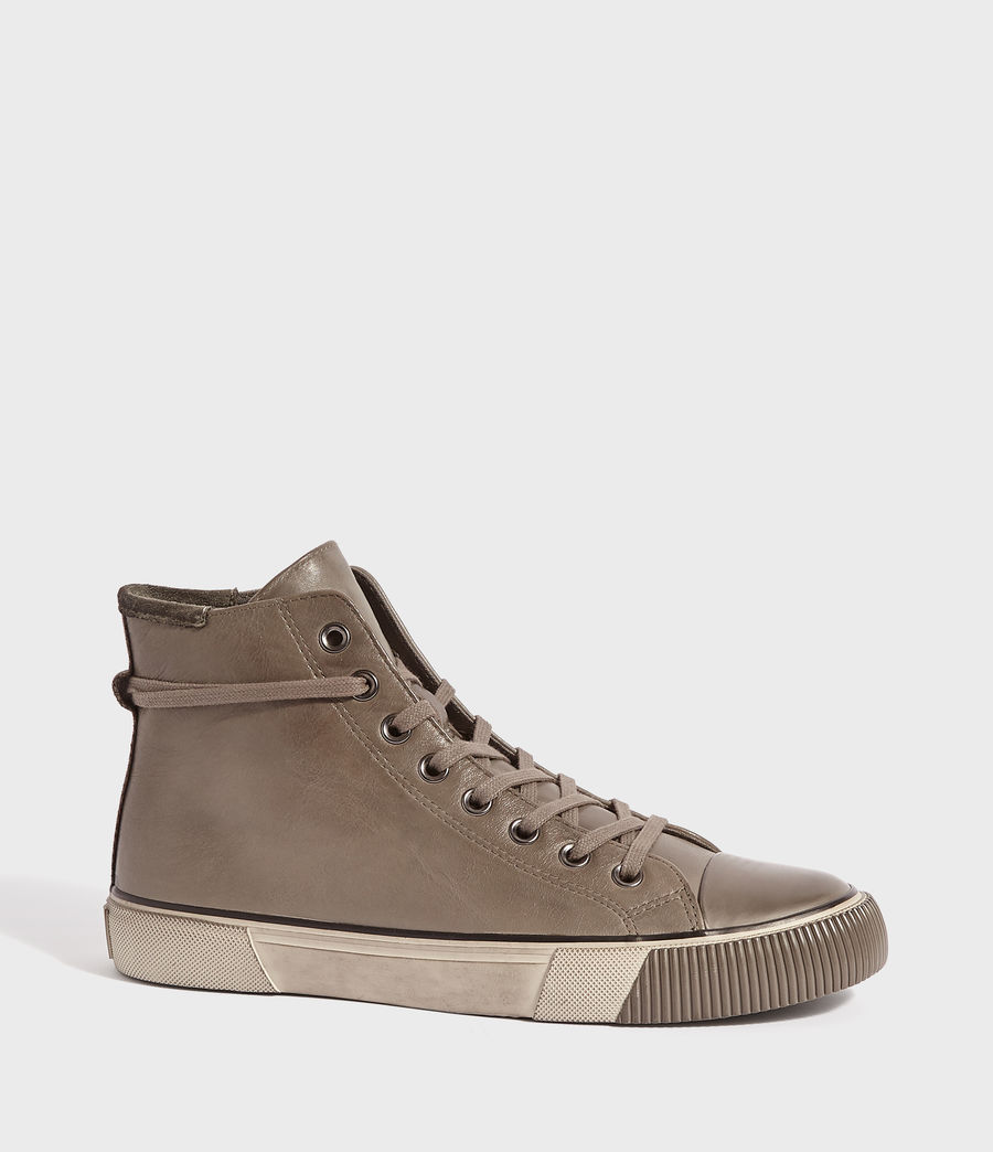 Mens Osun Leather Hightop Sneaker (charcoal_grey) - Image 2