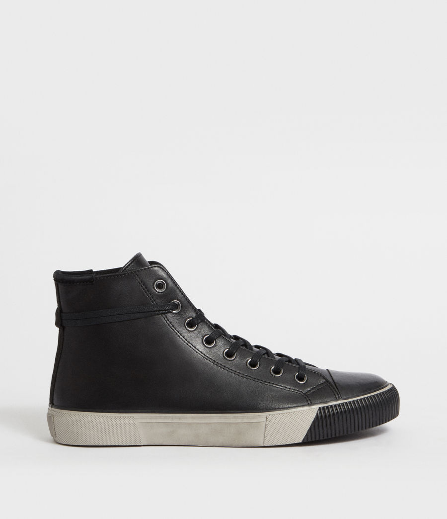 Men's Osun Leather Hightop Trainer (black) - Image 1