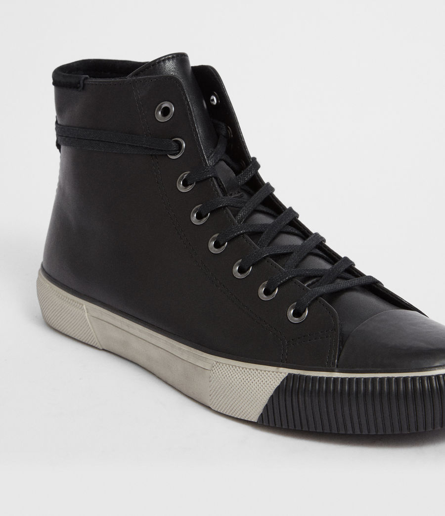 Men's Osun Leather Hightop Trainer (black) - Image 2