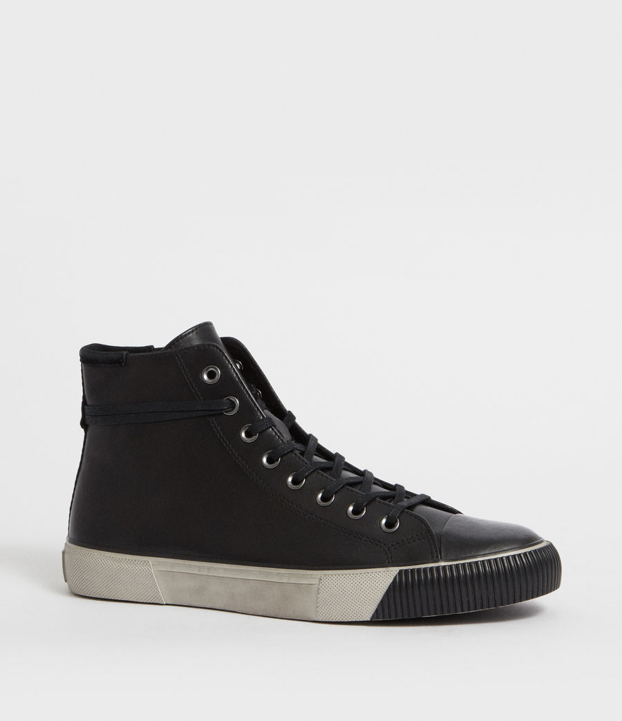 Men's Osun Leather Hightop Trainer (black) - Image 3