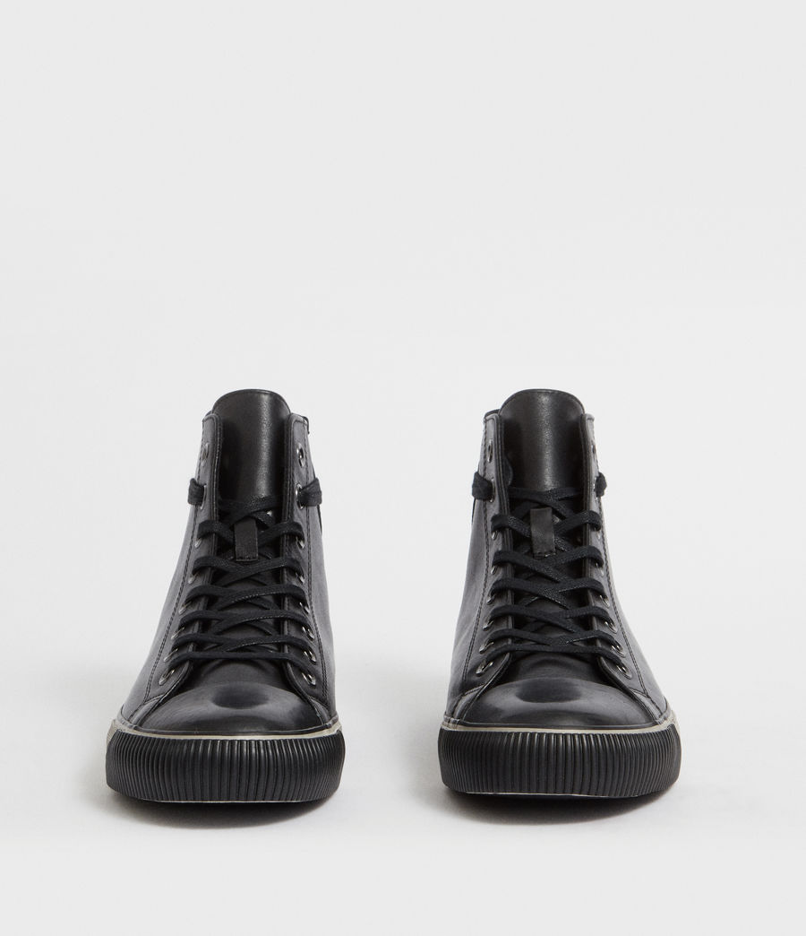 Men's Osun Leather Hightop Trainer (black) - Image 4