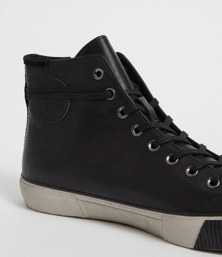 Men's Osun Leather Hightop Trainer (black) - Image 7
