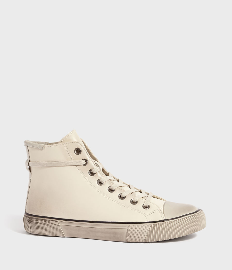 Mens Osun High Top Leather Sneakers (chalk) - Image 2