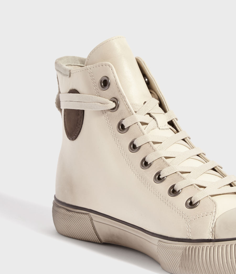 Mens Osun High Top Leather Sneakers (chalk) - Image 3