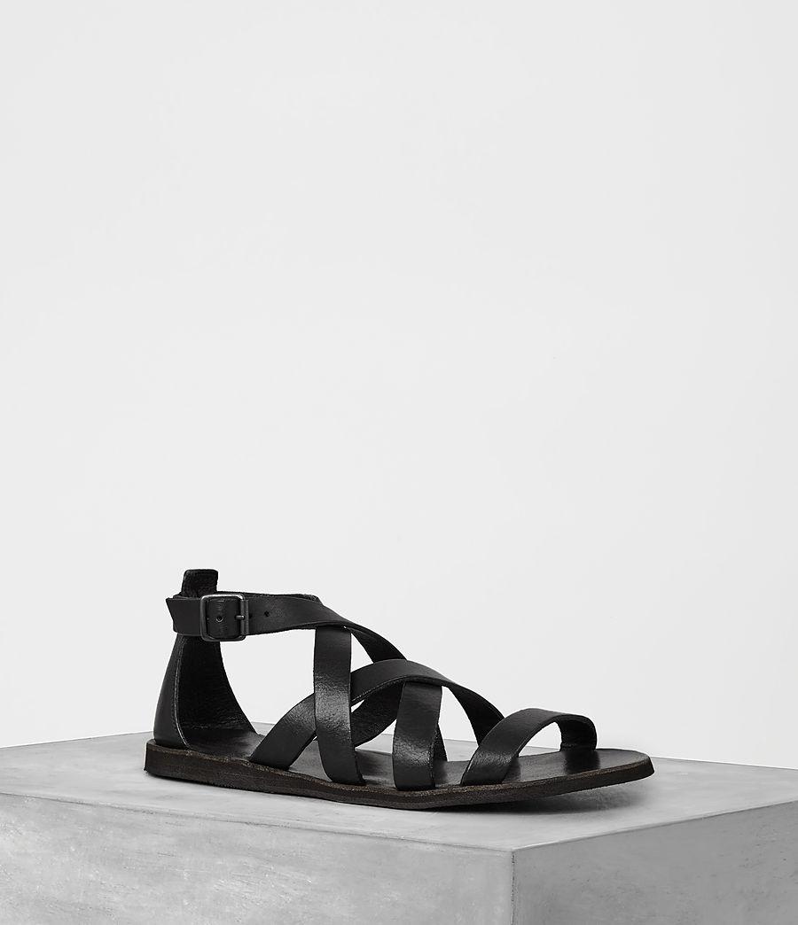 Mens Atlas Leather Sandal (black) - Image 1