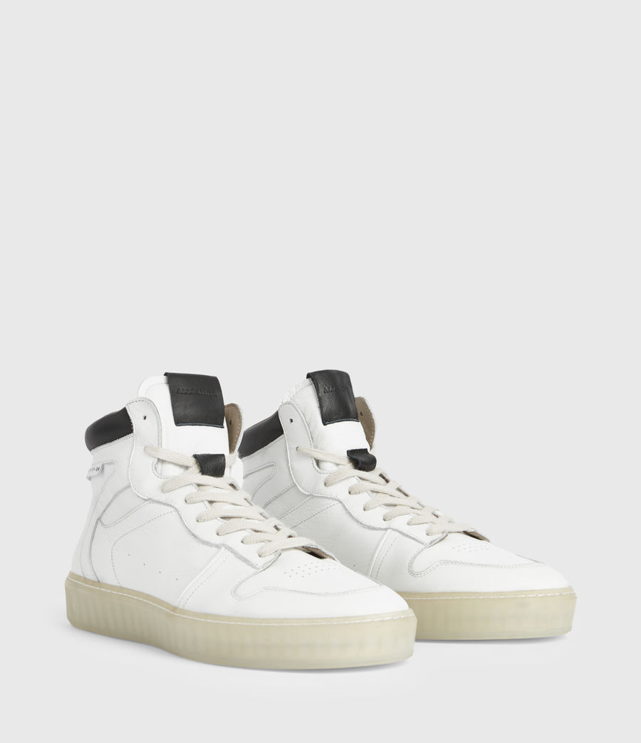 Men's Davian High Top Leather Trainers (chalk_white) - Image 3