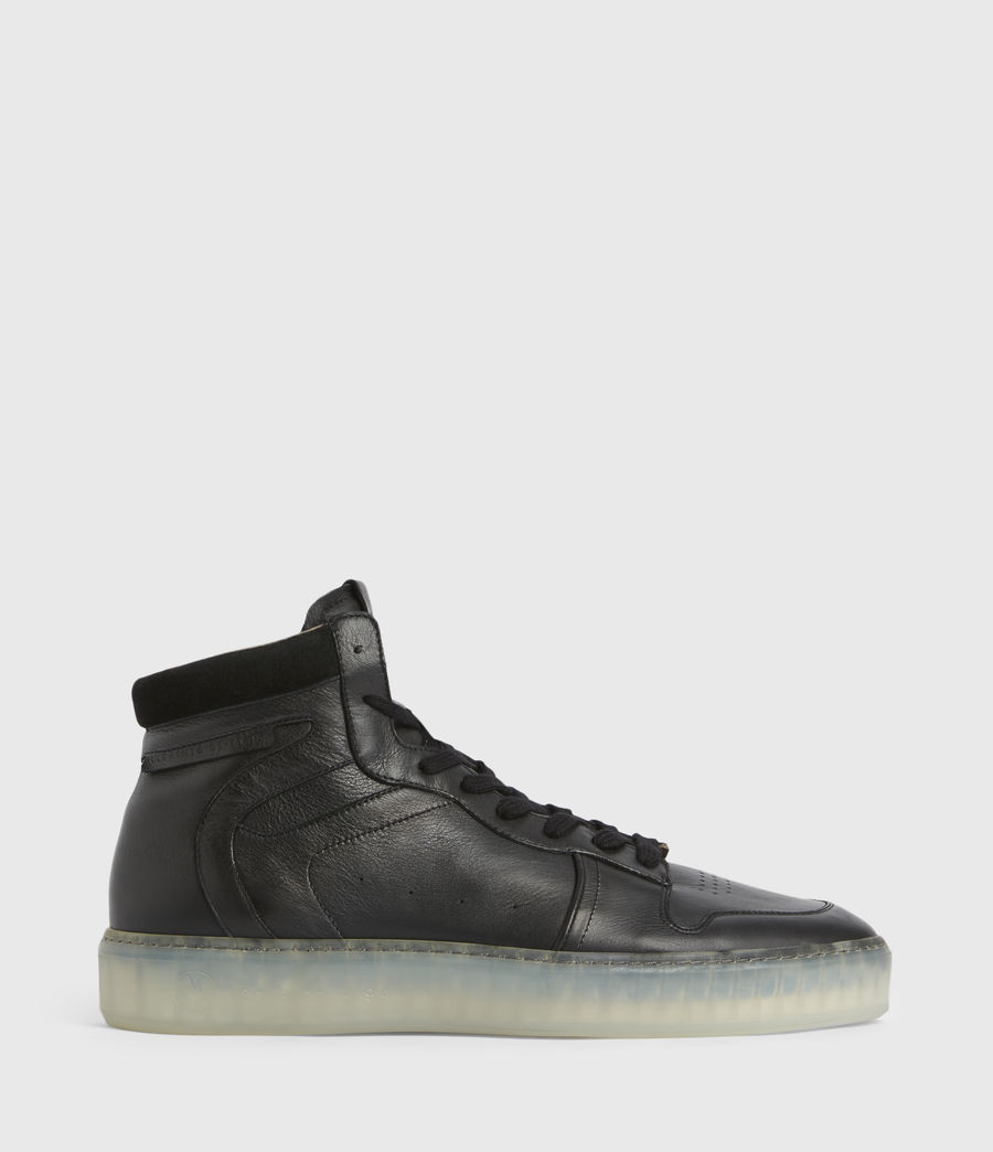Men's Davian High Top Leather Trainers (black) - Image 1