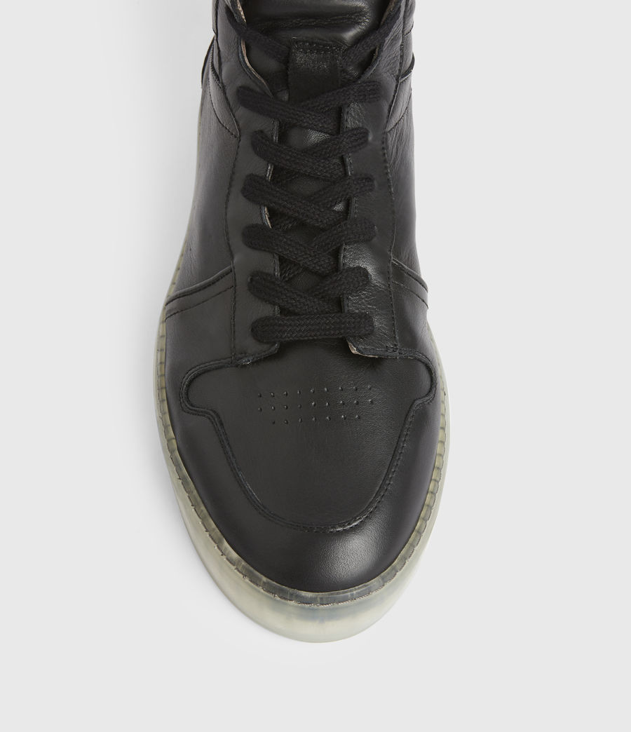 Men's Davian High Top Leather Trainers (black) - Image 2