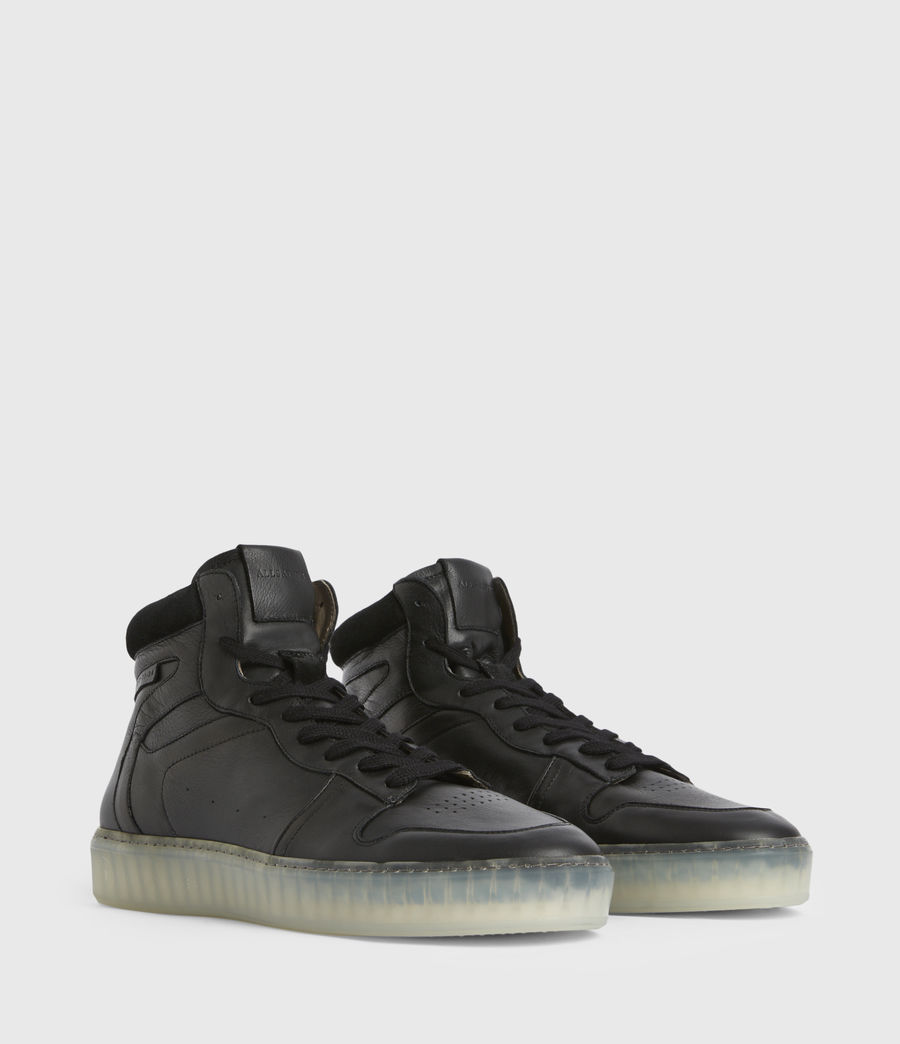 Men's Davian High Top Leather Trainers (black) - Image 3