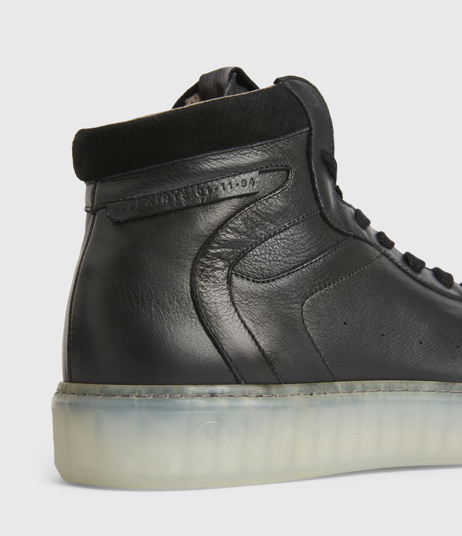 Men's Davian High Top Leather Trainers (black) - Image 4