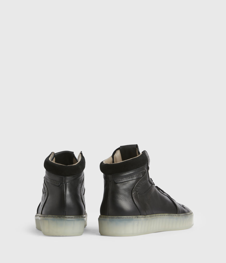 Men's Davian High Top Leather Trainers (black) - Image 5
