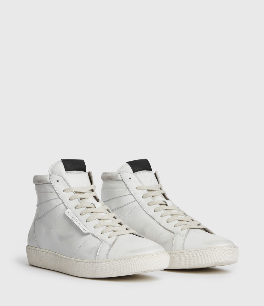 Men's Miles High Top Leather Trainers (chalk_white) - Image 3