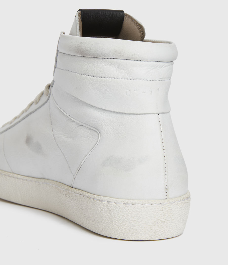 Men's Miles High Top Leather Trainers (chalk_white) - Image 4