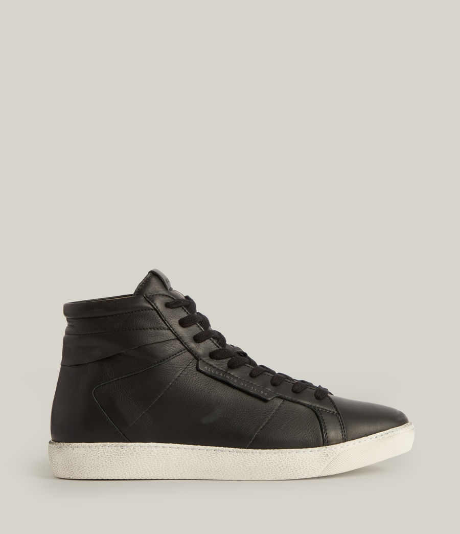 Men's Miles High Top Leather Trainers (black) - Image 1