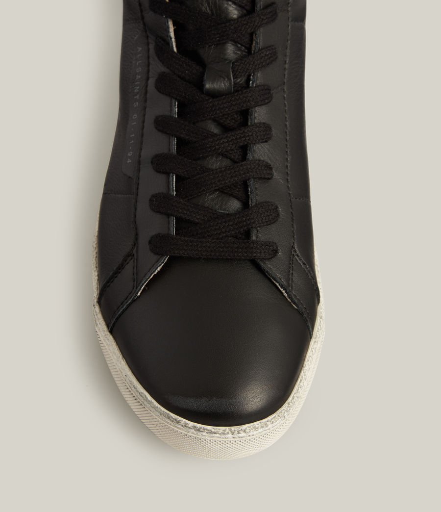 Men's Miles High Top Leather Trainers (black) - Image 2