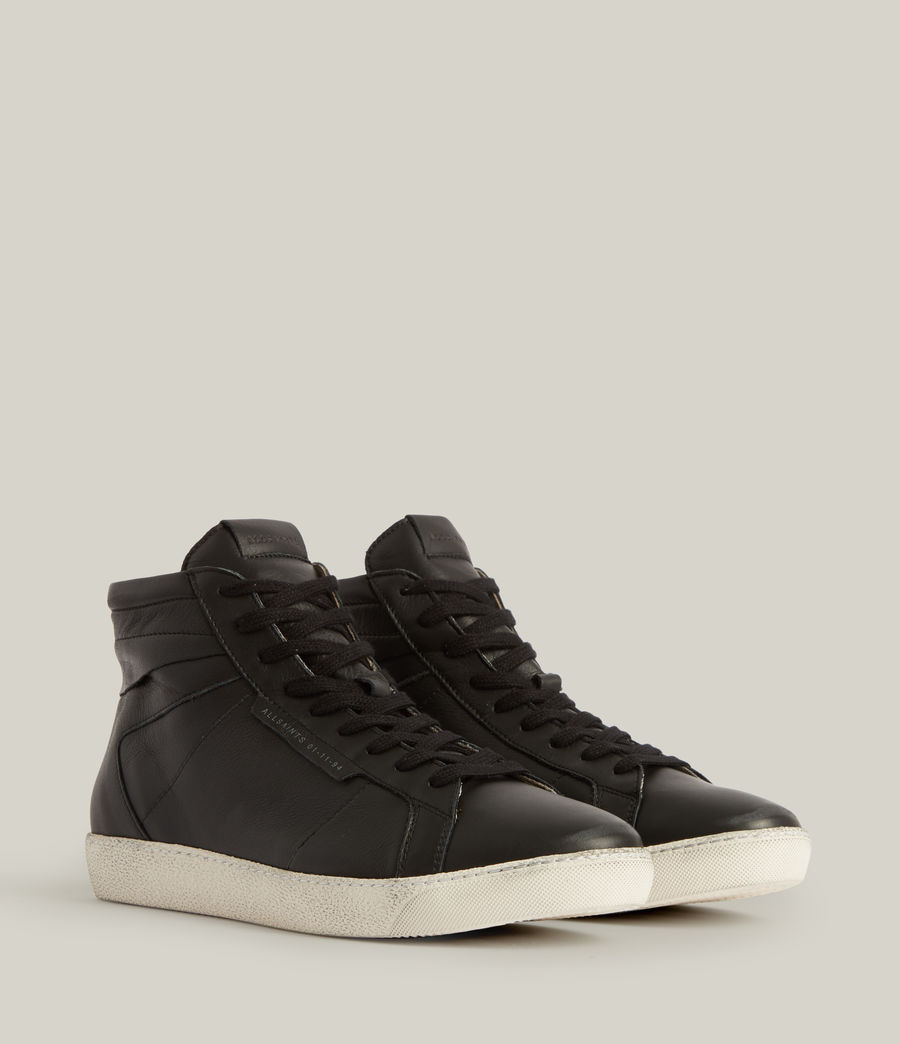 Men's Miles High Top Leather Trainers (black) - Image 3