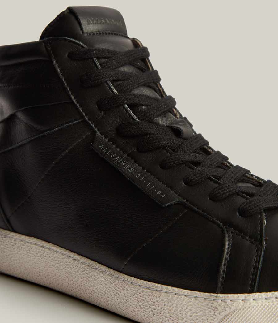 Men's Miles High Top Leather Trainers (black) - Image 4