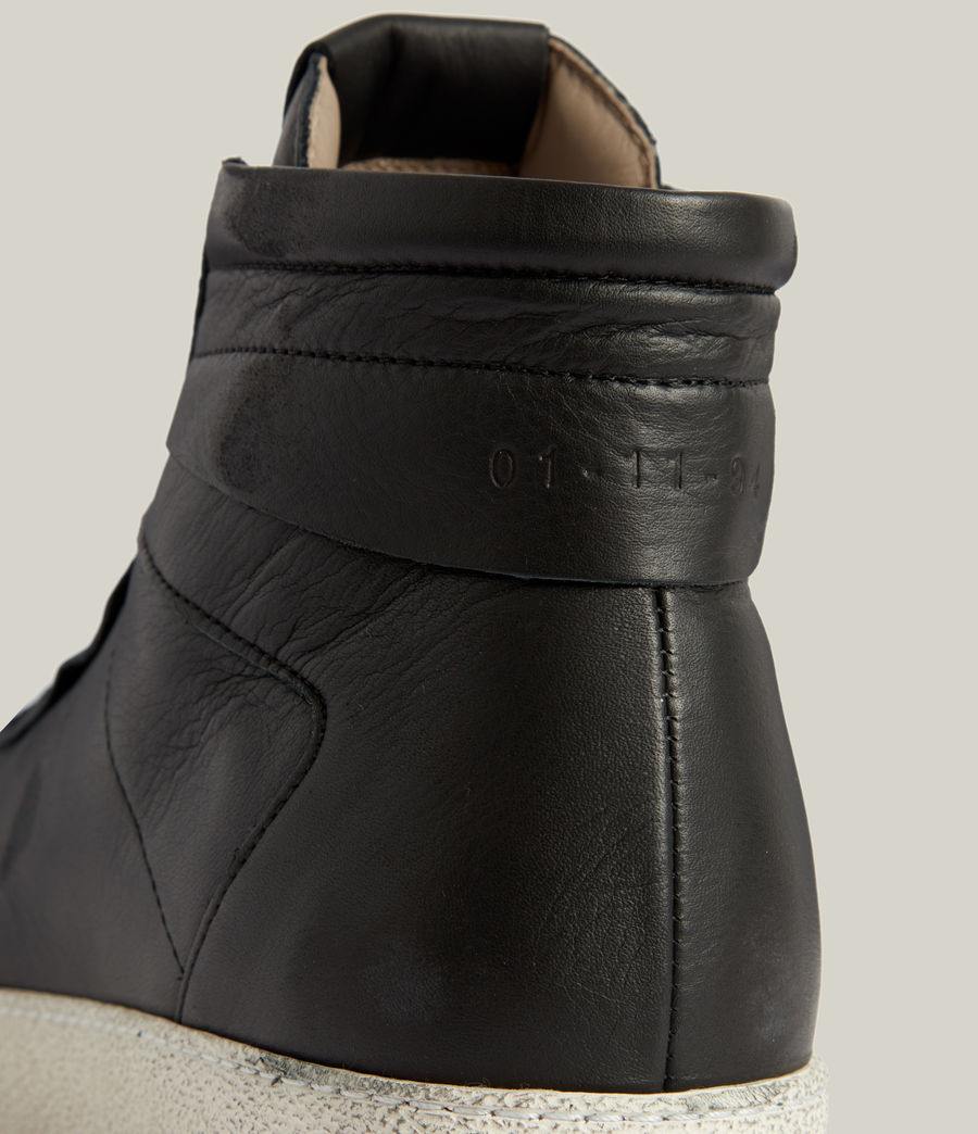 Men's Miles High Top Leather Trainers (black) - Image 5