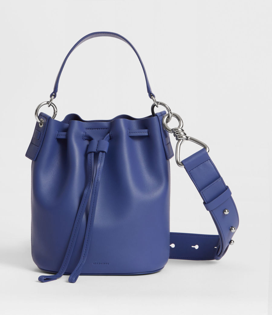 Women's Captain Leather Small Bucket Bag (cobalt_blue) - Image 1