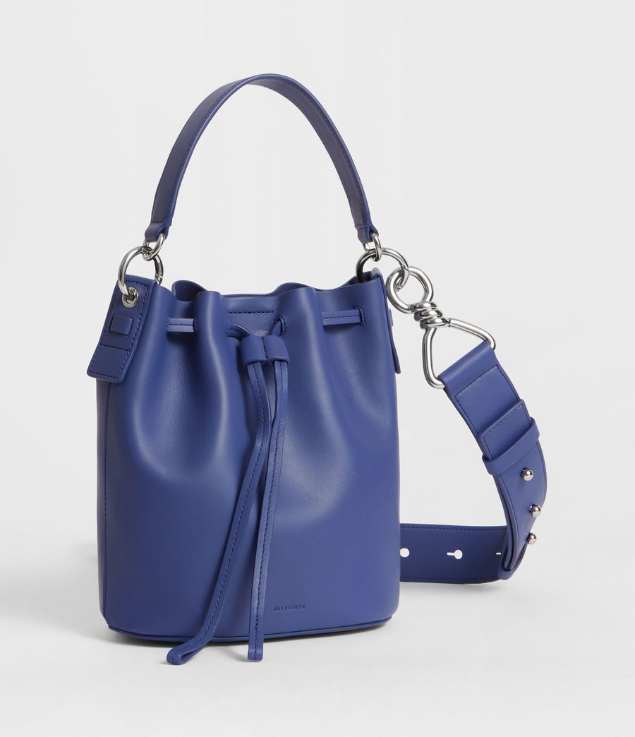 Women's Captain Leather Small Bucket Bag (cobalt_blue) - Image 4