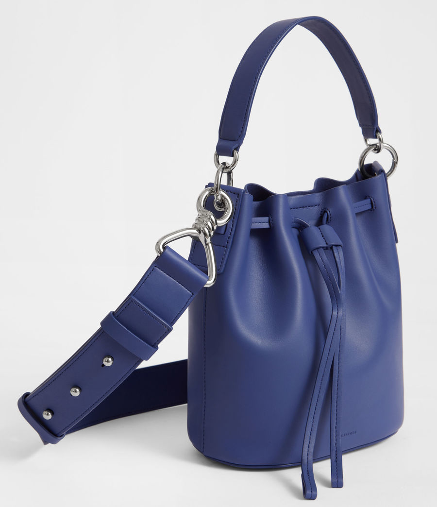 Women's Captain Leather Small Bucket Bag (cobalt_blue) - Image 6