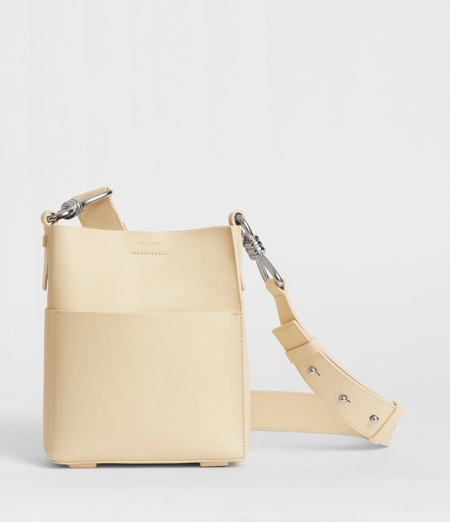 Women's Captain Leather North South Crossbody Bag (cream_white) - Image 1