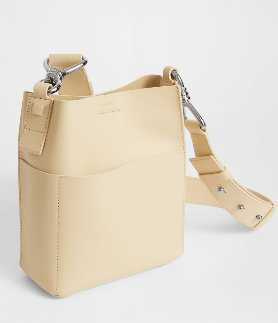 Women's Captain Leather North South Crossbody Bag (cream_white) - Image 3